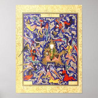Persische Miniatur: Das Mi'raj des Prophets Poster