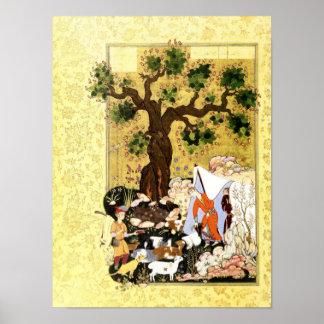 Persische Miniatur: Majnun in der Verkleidung Poster