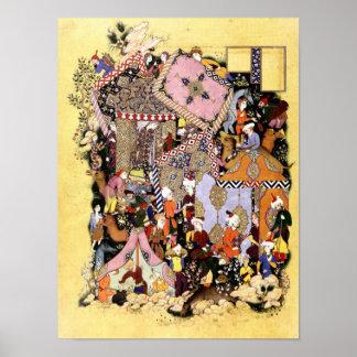 Persische Miniatur: Majnun nähert sich Layla Poster