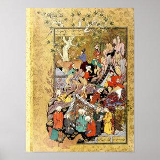 Persische Miniatur: Qays erste Blicke Layla Poster