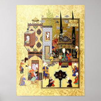 Persische Miniatur: Solomon und Bilqis haben einen Poster