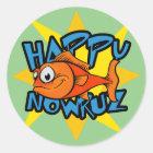 Persisches neues Jahr Nowruz Goldfischlächelndes Runder Aufkleber