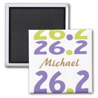 Personalisiert für Marathon 26,2 Quadratischer Magnet
