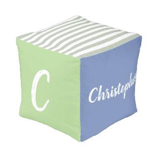 Personalisiert, Monogramm, Name, Junge, Blau, grün Hocker