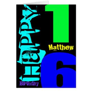 Personalisierte 16. Geburtstag POP Gruß-Karte Karte