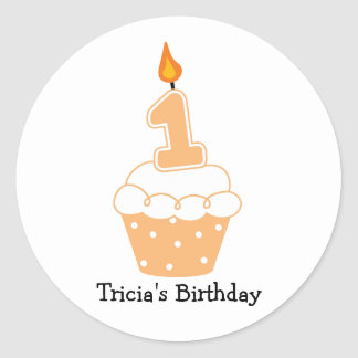 Personalisierte 1. Geburtstags-Kuchen-Aufkleber Runder Aufkleber