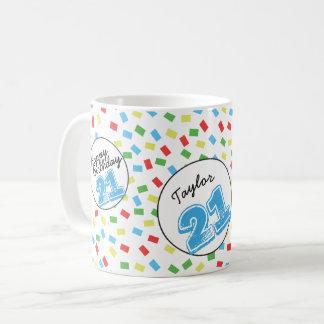 Personalisierte 21. Geburtstags-Tassen-festliches Kaffeetasse
