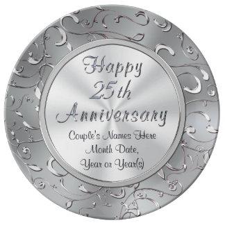 Personalisierte 25. Jahrestags-Platte, Porzellan Porzellanteller