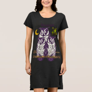 Personalisierte 3 lila Eulen Mond und Sterne Kleid