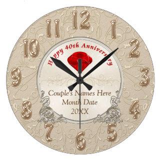 Personalisierte 40. Jahrestags-Geschenke karminrot Wanduhr