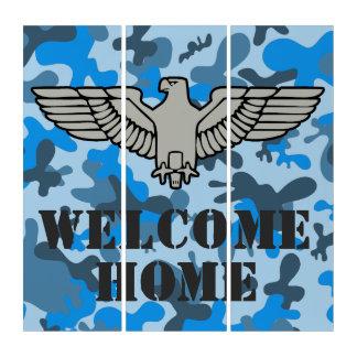 Personalisierte Adler-blaues Grau-Tarnung Triptychon