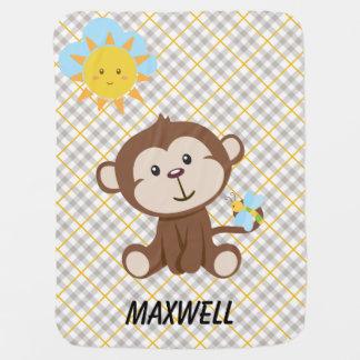 Personalisierte Affe-Baby-Decke Babydecken