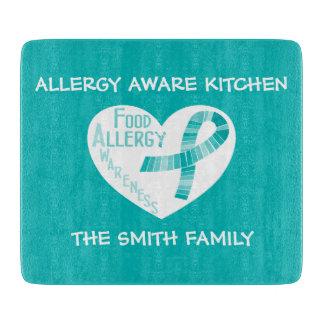 Personalisierte Allergie-bewusstes aquamarines Schneidebrett