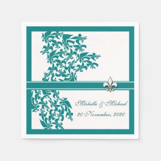 Personalisierte aquamarine Lilien-Damast-Art Papierserviette