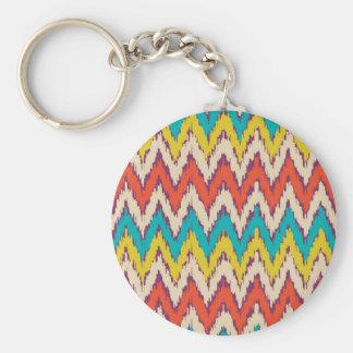 Personalisierte aztekische Stammes- Ziz Zag-Muster Standard Runder Schlüsselanhänger