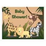 Personalisierte Baby-Dusche lädt, Dschungel-Tiere Individuelle Einladung