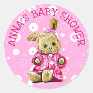 Personalisierte Baby-Duschen-Aufkleber-rosa Runder Aufkleber