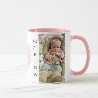 Personalisierte Baby-Foto-Rosa-Griff-Kaffee-Tasse Tasse