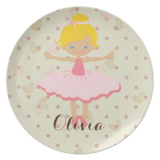 Personalisierte Ballerina - blonde blaue Augen Teller