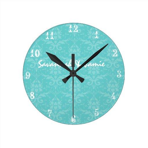 Personalisierte barocke Aqua-Damast-Uhr