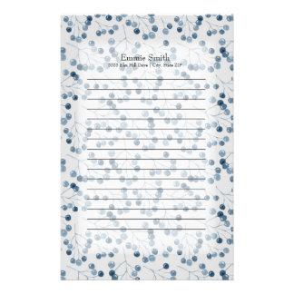 Personalisierte blaue Beeren auf Weiß Briefpapier