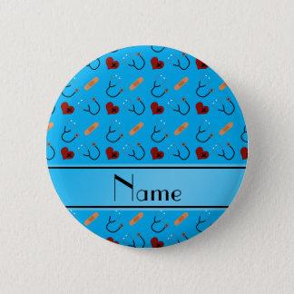 Personalisierte blaue runder button 5,7 cm