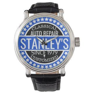Personalisierte blaue Vintage Garage Armbanduhr