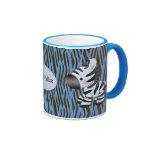 Personalisierte blaue Zebras u. Tier-Druck-Tasse