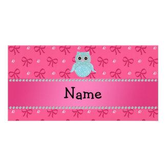 Personalisierte bling Eulendiamant-Rosanamensbögen Personalisierte Foto Karte