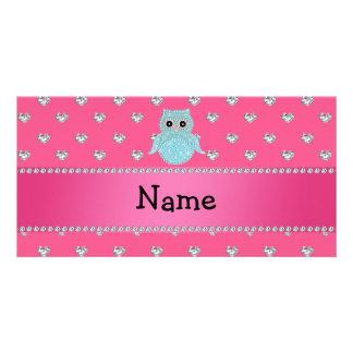 Personalisierte bling rosa Namensherzen der Eulend Personalisierte Foto Karte