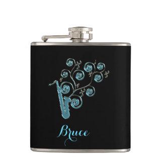 Personalisierte Bluessaxophone-Musiknoten-Flasche Flachmann