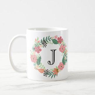 Personalisierte Blumenwreath-Tasse Kaffeetasse