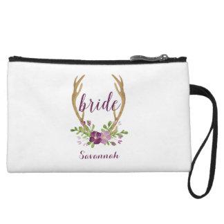 Personalisierte Boho Braut-Kosmetik-Tasche Kleine Clutch