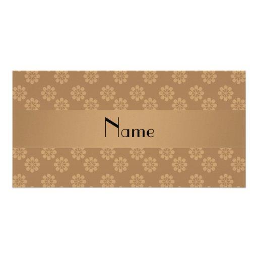 Personalisierte braune NamensBlumen Foto Karten