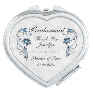 Personalisierte Brautjungfer mit Blumen Taschenspiegel