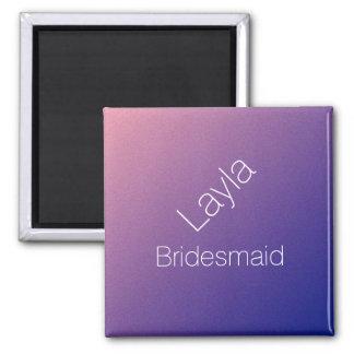 Personalisierte Brautjungfern-lila Quadratischer Magnet