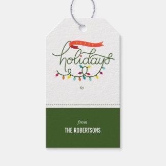Personalisierte bunte glückliche Feiertage Geschenkanhänger