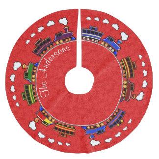 Personalisierte bunte Spielzeug-Züge Polyester Weihnachtsbaumdecke