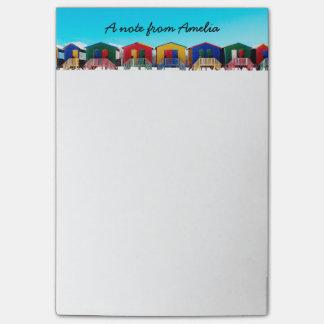 Personalisierte bunte Strand-Haus-Hütten-Reihe Post-it Haftnotiz