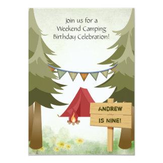 Personalisierte Campings-Geburtstags-Party 11,4 X 15,9 Cm Einladungskarte