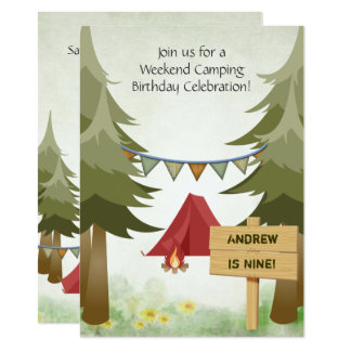 Personalisierte Campings-Geburtstags-Party Karte