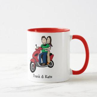 Personalisierte Cartoon-Tasse der Motorradpaare Tasse