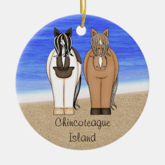 Personalisierte Chincoteague Insel-Ponys - Pferd Keramik Ornament