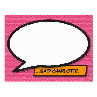 Personalisierte Comic-Buch-Pop-Kunst-Sprache-Blase Postkarte