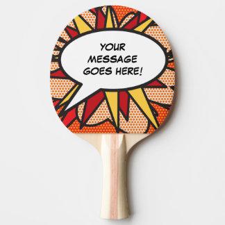 Personalisierte Comic-Buch-Pop-Kunst-Sprache-Blase Tischtennis Schläger