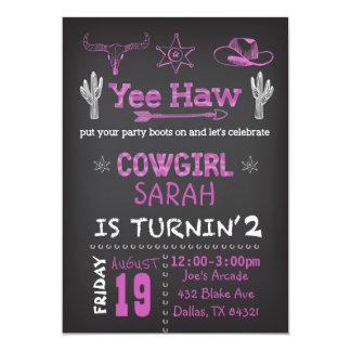Personalisierte Cowgirl-Geburtstags-Party 12,7 X 17,8 Cm Einladungskarte