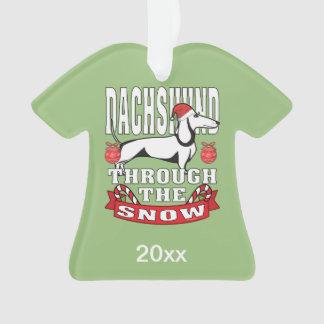 Personalisierte Dackel durch den Schnee-Feiertag Ornament