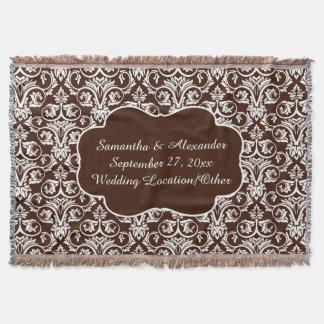 Personalisierte Damast-Hochzeit/Gewohnheit Decke
