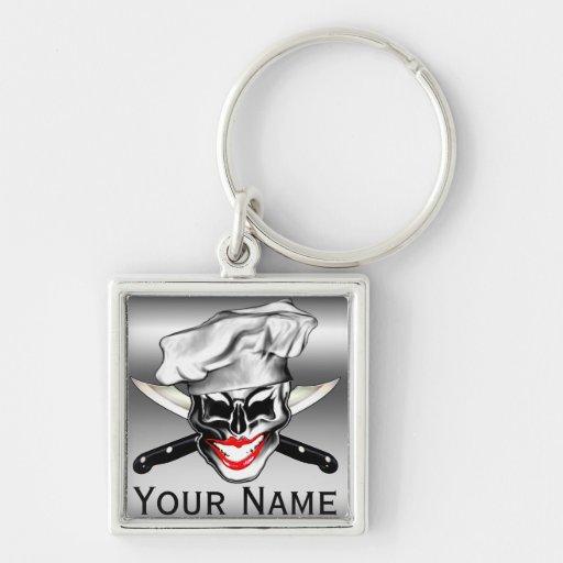 Personalisierte Dame Chef Skull Keychain Schlüsselband