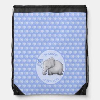 Personalisierte die Polka-Herz-Elefanten der Turnbeutel